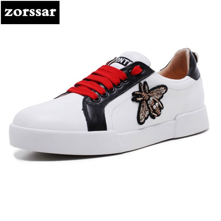 {Zorssar} Genuine Leather Women Shoes Casual flat Small White shoes ladies Sneakers Flats Moccasins shoes Female Travel shoes instantarts women flats emoji face smile pattern summer air mesh beach flat shoes for youth girls mujer casual light sneakers