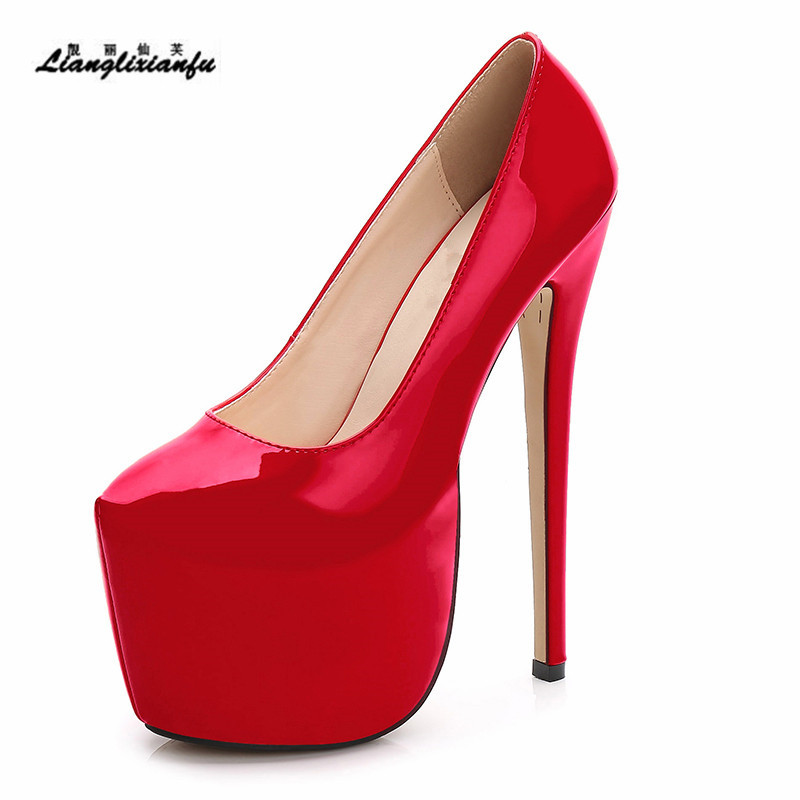 LLXF Spring zapatos Plus:35-41 42 43 44 Stiletto Ladies Pointed Toe platforms Shoes women 18cm thin High-Heeled female RED Pumps love in the time of fridges
