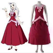 Fairy Tail Косплэй Mirajane Стросс красное платье лолиты Fairy Tail Гильдии Косплэй костюм Карнавальные костюмы для Для женщин