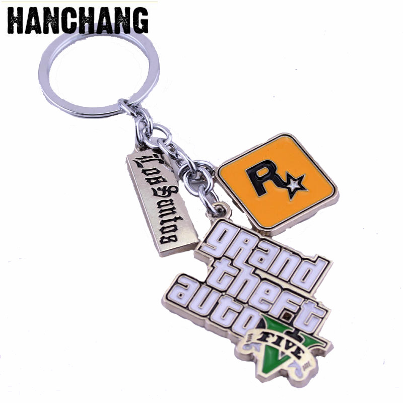 HANCHANG Jewelry Game PS4 GTA 5 Grand Theft Auto 5 Keychain For Men Fans Letter Grand Theft Autob Rockstar Keychain Key Buckles new 2015 free shipping adolescent grand theft auto gta 5 sitcoms man men male sports short sleeve t shirt