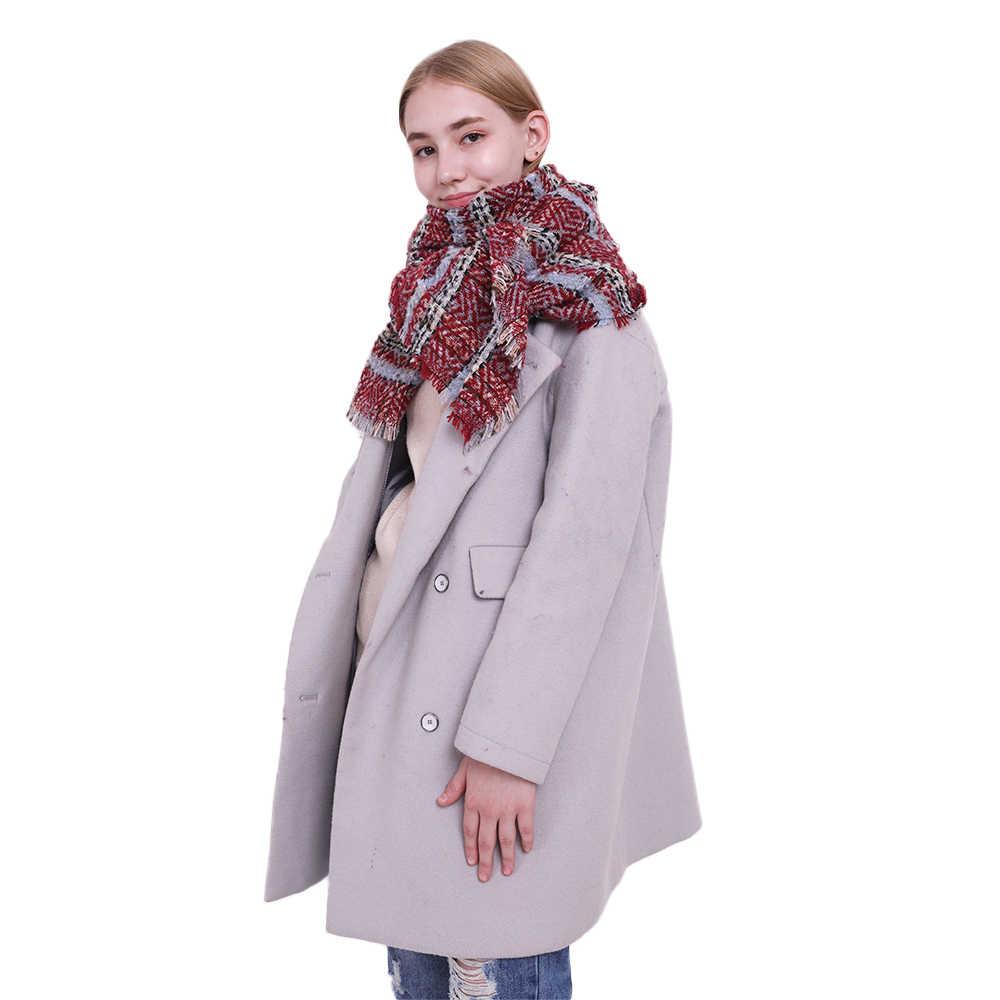 bdb59eb4f ... FS Brand High Quality Women Winter Scarf Fashion Striped Yellow Red Cape  Thick Warm Shawls And ...