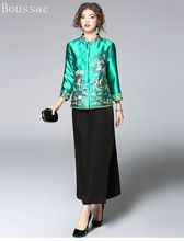 цены Free shipping new arriving Spring big size vintage Chinese style flower and peacock embroidered short jacket outerwear for women