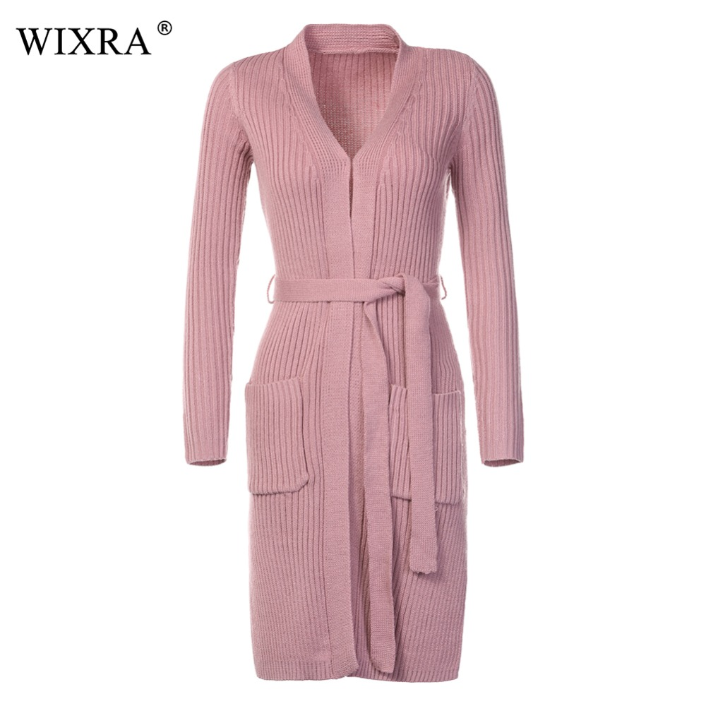 Wixra Warm And Charm New Women Cardigan Knitted Sweater Coat Long Sleeve Female Casual Woman Cardigans With Belts Crop Tops