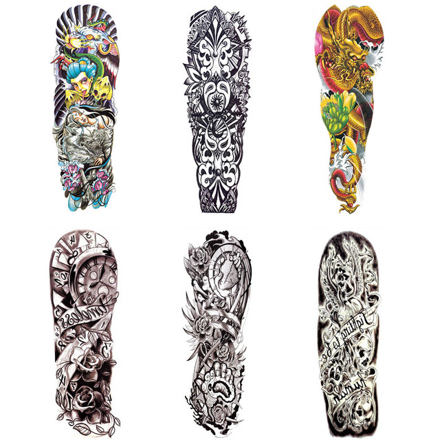 5c2e325d8 Waterproof Temporary Tattoo Sleeve Designs Full Arm Transferable Tattoos  Stickers Body Art Cool Men Women Halloween Skull Devil