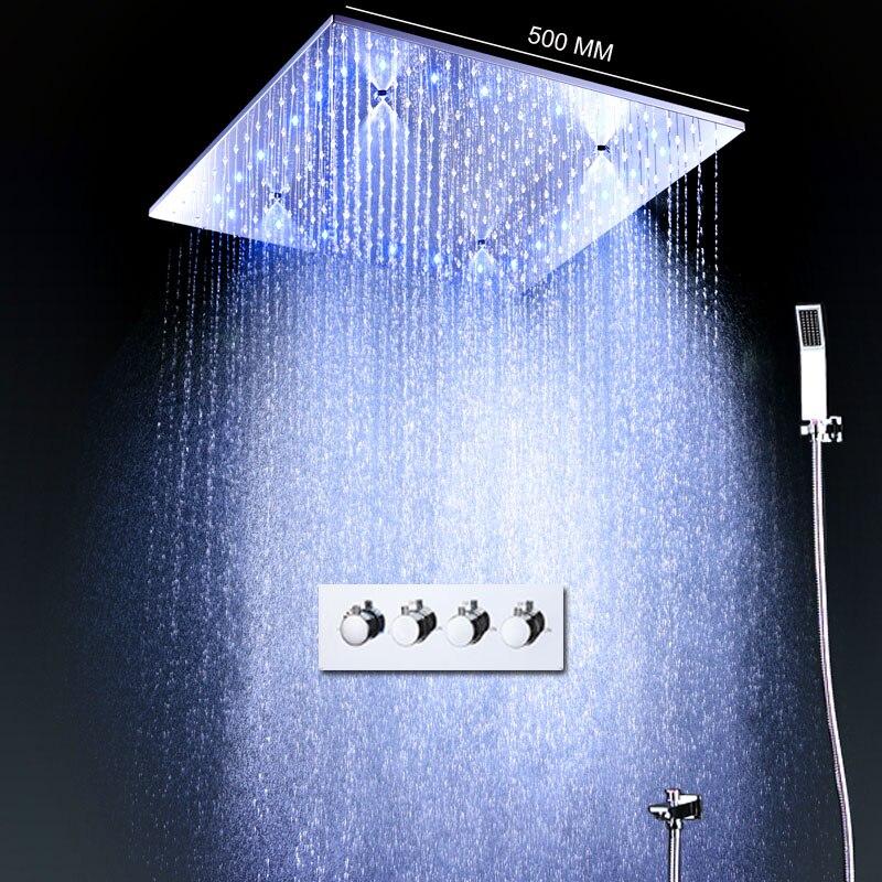 Moderne Grande Pluie Set De Douche Thermostatique Mitigeur de Bain 20 pouce Brumeux Carré Panneau De Douche Tête Avec Water Power LED ligthts