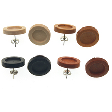 20pcs/lot Blank Wood Cabochon Earring Base Stainless Steel Post Stud Earrings Settings Fit 12mm Glass for Diy Jewelry Findings