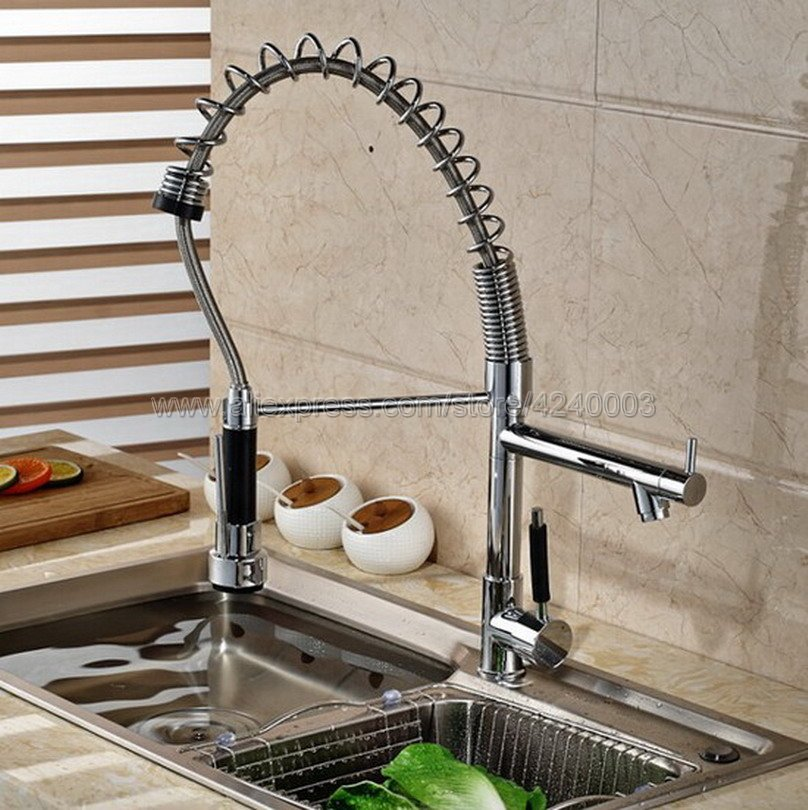 Pull Down Dual Spout 360 Swivel Kitchen Sink Faucet Chrome Single Handle Hot and Cold Kitchen Sink Mixer Tap Ksf078 micoe pull style hot and cold water kitchen faucet mixer single handle single hole modern style chrome tap 360 swivel m hc103