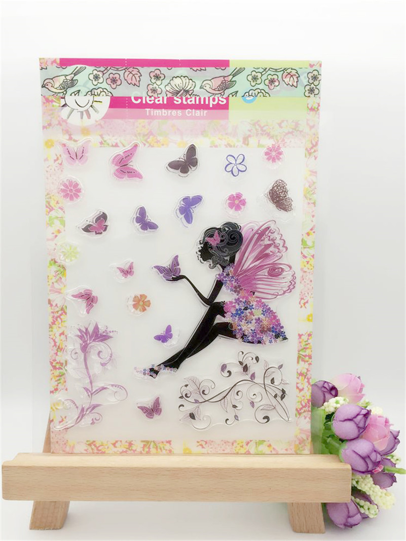 girl and angel high quality Clear Silicone Stamp Seal for DIY scrapbooking photo album clear stamp  CL-193 lovely animals and ballon design transparent clear silicone stamp for diy scrapbooking photo album clear stamp cl 278