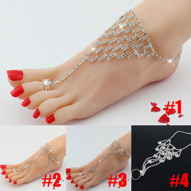 Brilliant Rhinestone Barefoot Sandals Fashion BowFloral LeafSquare