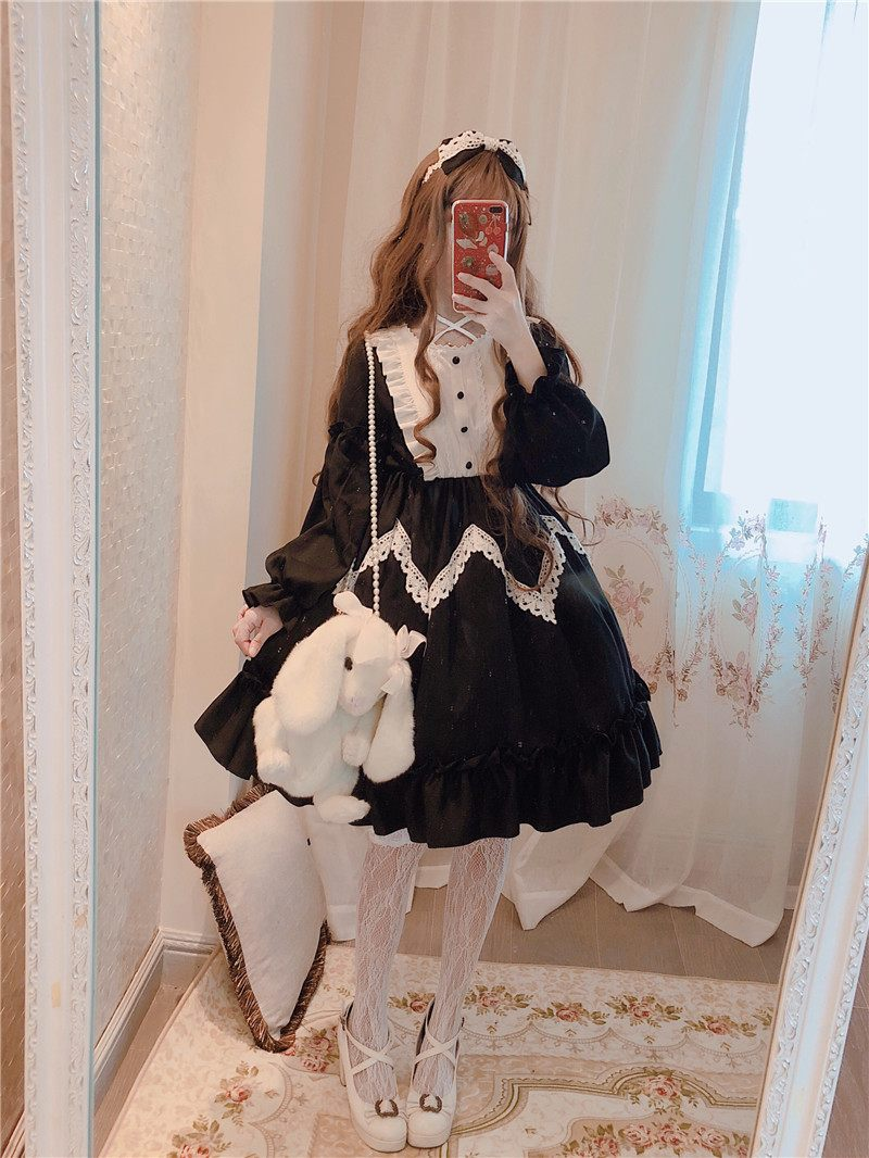 겨울 긴 소매 앨리스 원더 랜드 로리타 빅 레이스 드레스 빅 스윙 라벤더 블루 & 블랙-에서드레스부터 여성 의류 의  그룹 3
