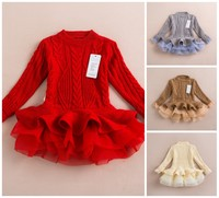 EMS DHL Free Shipping Little Girls 4 Colors Winter Autumn 2015 NEW Year Holiday Casual Dress