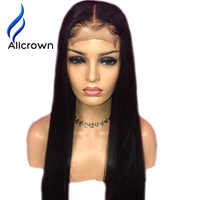 "Alicrown Lace Front Human Hair Wigs Bleaches knots 13*4 Straight Brazilian Remy Hair Wig 10-24""Pre Plucked Natural Hairline"