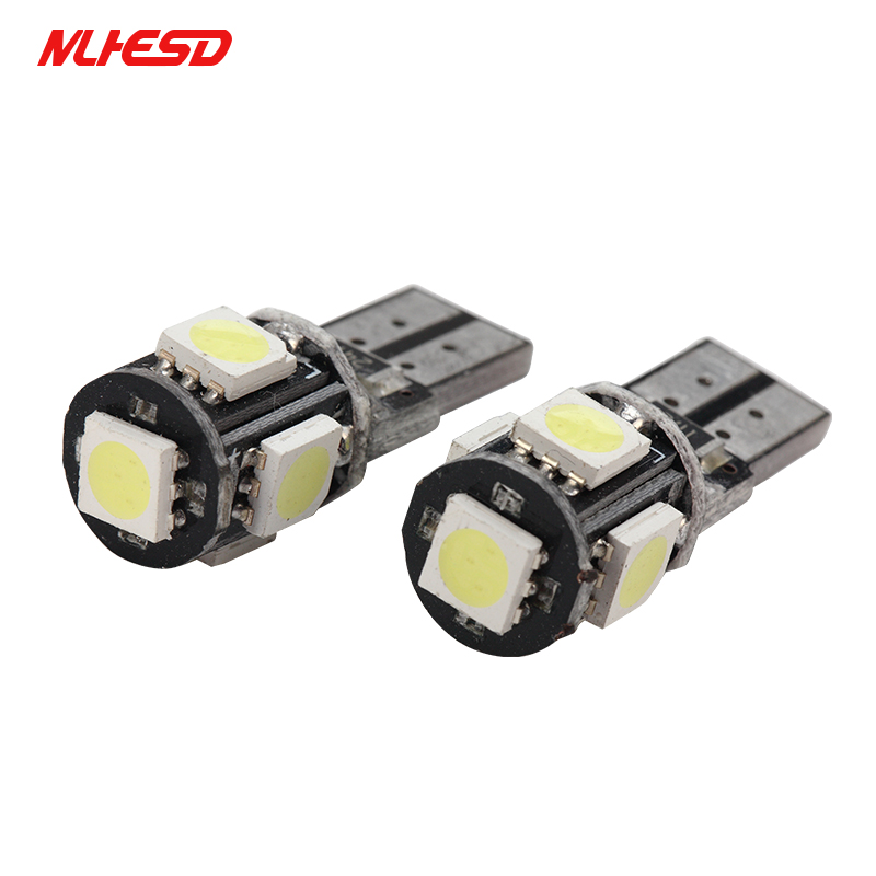 <font><b>100X</b></font> <font><b>T10</b></font> 5SMD <font><b>LED</b></font> CANBUS 5050 SMD W5W 194 Error Free Car Light Auto Bulb White Red Blue Yellow Color CAN BUS Automotive Lamp image