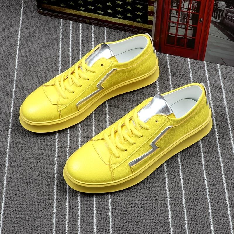 Respirável Homens Fofinho amarelo Estudantes Da Amarelo Casual New Arrival Nomeação De Dos Placa Sapatas Panda Moda Tendência Branco Marca Sapatos Microfibra adcw77qF