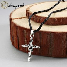 CHENGXUN Mens Pendant Necklace Chữ Thập Cổ Áo Cổ Điển Rose Gold Statement Necklace Black Leather Chain Có Thể Điều Chỉnh(China)