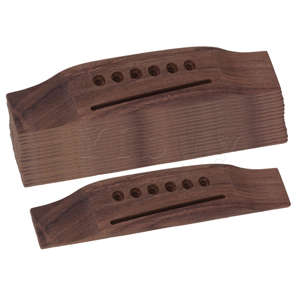 Yibuy 6 String Rosewood Saddle Thru Guitar Bridge for Folk Acoustic Guitar Set of 10 bridge saddle and nut for 6 string acoustic guitar new