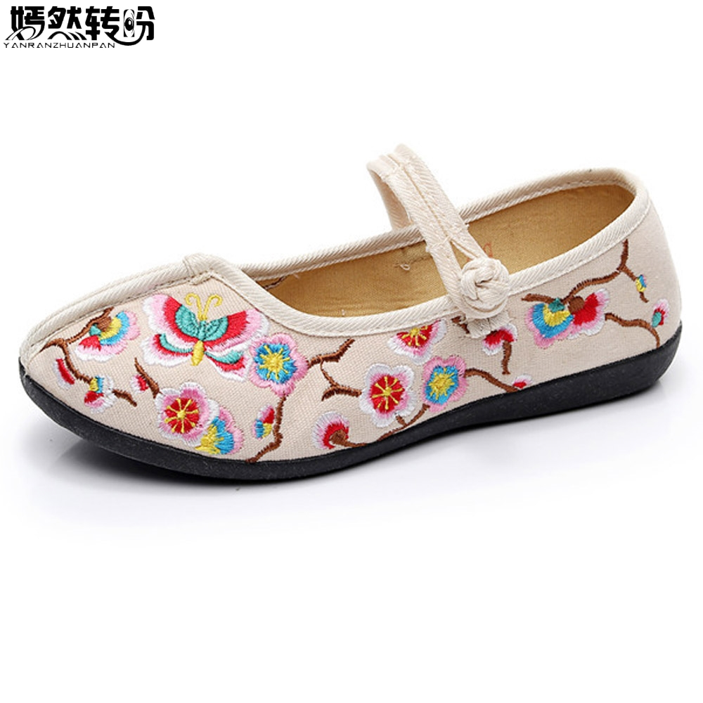 Chinese Women Shoes Flats Floral Embroidery Cotton Wedding Red Comfortable Old Peking Ballerina Shoes Woman Sapato Feminino vintage embroidery women flats chinese floral canvas embroidered shoes national old beijing cloth single dance soft flats