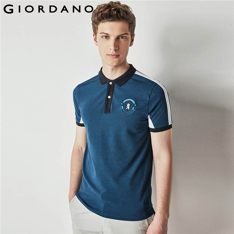 Giordano Men Polo Embroidery Pattern Tops Short Sleeves Contrast Flat Collar Homme Polo For Summer Fashion Brand Garment