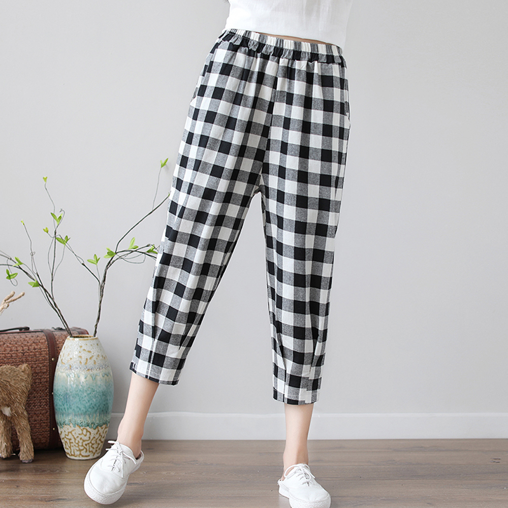 New Streetwear Fashion Black White Plaid Women   Pants   Elastic Waist Loose Casual Harem   Pants   Summer Cotton Linen   Pants     Capris