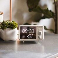 Retro Alarm Clock Mirror Multifunctional Mirror Clock Thermometer Bedside Multifunctional Clock