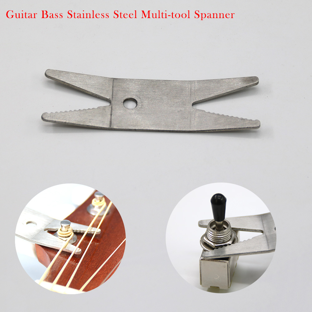 Guitar Bass Stainless Steel Multi-tool Spanner Wrench Knob Jack Tuner For Tightening Pots Switches For Guitar