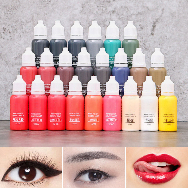 15ml Microblading Liquid Pigment Safe And Non-toxic 22 Color Base Semi Permanent Lips Eyebrow Eyeliner Manual Tattoo Pen Pigment