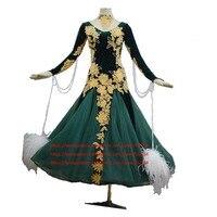 Ballroom Dance Dress Women Adult Costume Salsa Standard Dance Dresses with Shinning Rhinestones Long Sleeve Velvet Green