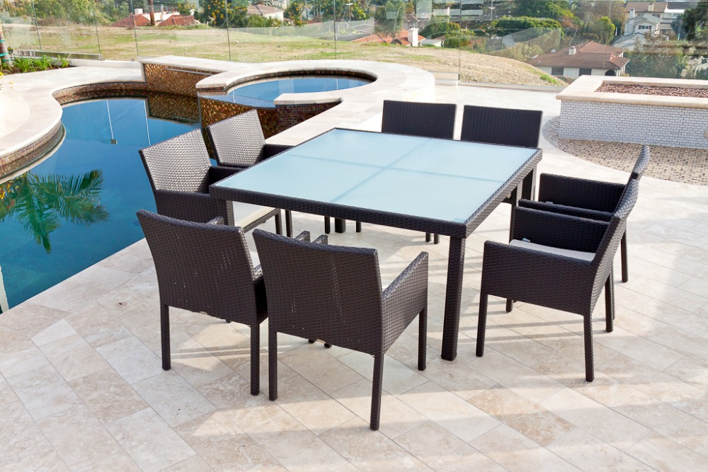 2017 trade assurance rattan garden furniture square compact new style dining table setchina