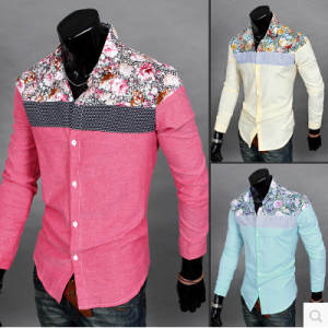 Floral-Shirt Button-Down Slim-Fit Long-Sleeve Fashion 6607 New-Products Men