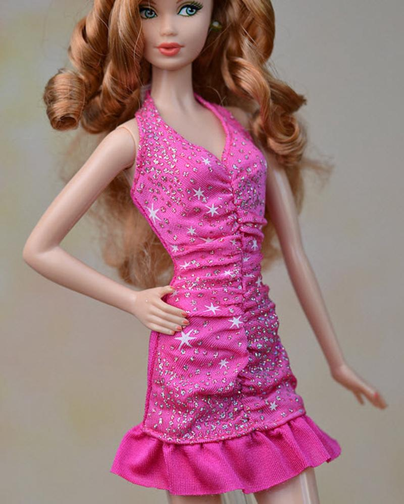 Pink Hand Made Excessive High quality One Piece Brief Gown With Flounced Edge Gown Vestido For Barbie Dolls For 1/6 Doll Accesories