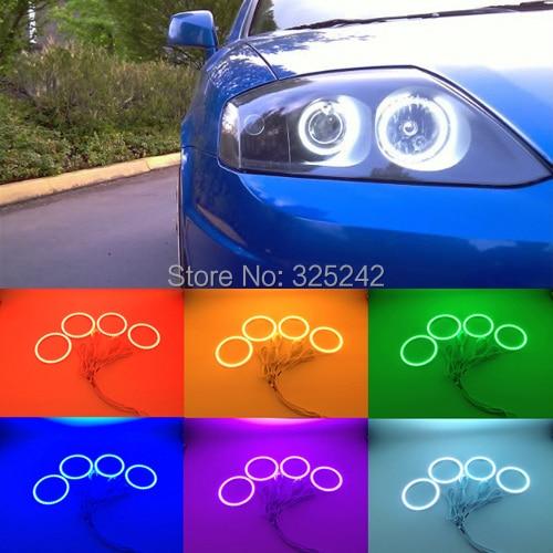 ФОТО For Hyundai Tiburon 2003 2004 2005 2006 Excellent Angel Eyes kit Multi-Color Ultra bright RGB LED Angel Eyes Halo Rings