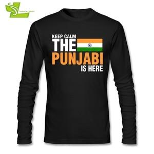 Image 3 - Mantenere La Calma Paura Il Punjabi È Qui T Camicia Maschile Nuova Venuta Maglietta Normale T Shirt di Autunno degli uomini 100% Cotone A buon mercato Papà Abbigliamento