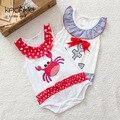 Macacão de bebê da menina de verão bonito caranguejo & Anchor estilo meninas roupa dos miúdos romper bebê recém-nascido roupas de bebe roupas em geral 4-24 m