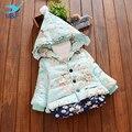 Meninas Do Bebê inverno Outerwear Floral Vende Quente Crianças Casaco Quente Crianças Jaqueta de Manga Longa de Algodão Para O Bebê 10-24 meses