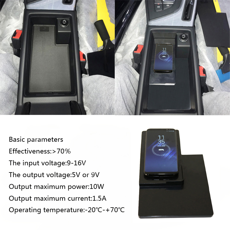 For Audi A4 B9 A5 2016 2017 car QI wireless charger wireless quick charging center console armrest storage box phone charger for volkswagen teramont 2017 2018 car mount qi wireless charger car central storage box phone wireless charger fast charging