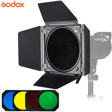 Godox BD-04 Bowens Mount Barn Door With Honeycomb Grid + 4 Color filter Kits for Studio Flash For SK400ii DE400 DE300 QS400 QS60 godox 50cm 130cm strip beehive honeycomb grid softbox with for bowens mount studio strobe flash light photography lighting