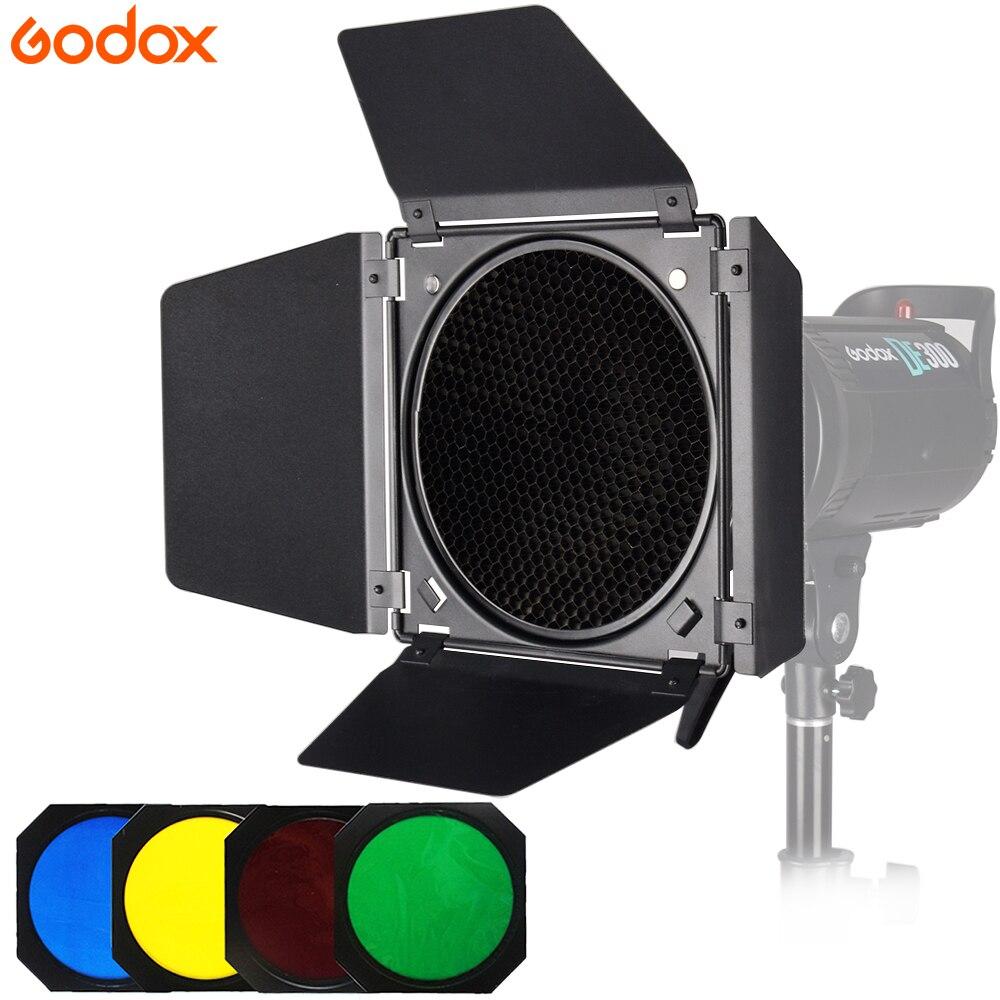 Godox BD-04 Bowens porte de grange avec grille en nid dabeille + 4 Kits de filtres de couleur pour SK400ii DE400 DE300 QS400 QS60 Studio FlashGodox BD-04 Bowens porte de grange avec grille en nid dabeille + 4 Kits de filtres de couleur pour SK400ii DE400 DE300 QS400 QS60 Studio Flash
