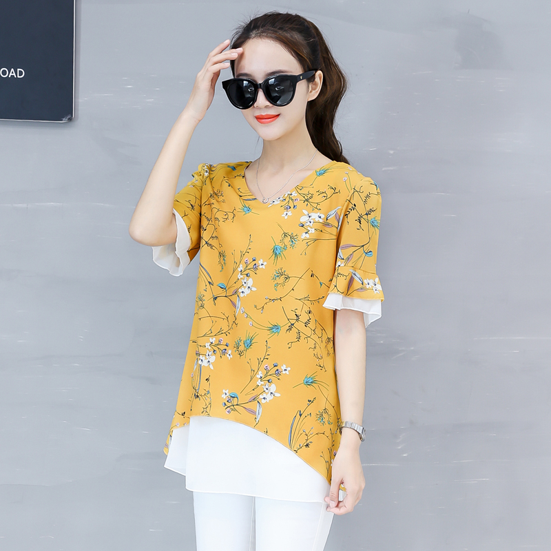 New 2018 Summer Fashion Printed Women Blouses Shirts Tops Female Short Sleeve Chiffon Blouse Floral Blusa Female Shirts 0378 30