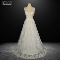Robe de Mariage Sexy Open Back Bohemian Beaded Vintage Boho Beach Wedding Dress 2017 Romantic Wedding Bridal Gowns