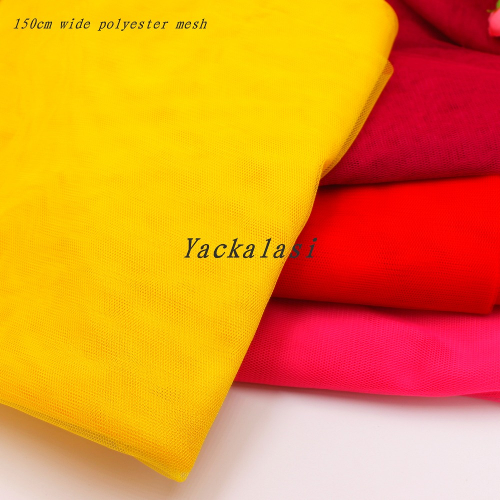 YACKALASI 5 Meters/Lot Soft Mesh Fabrics Women Dress Tulle Fabric 150CM Wide Polyester For Mosquito Cloth 1.2MM Size Hole