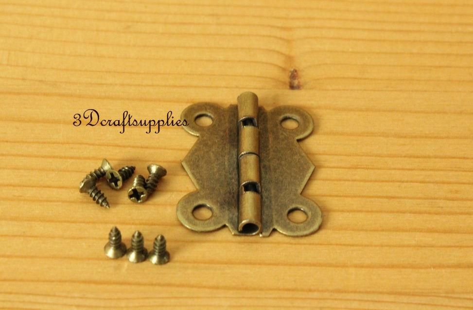 12 Pcs metal Hinges wooden cigar box jewelry Making anti brass 24mm x 32mm P16