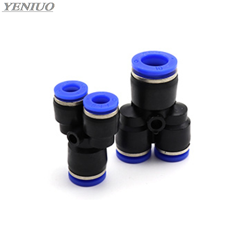 "PYG"" 3 Way Air Pneumatic 4mm-16mm OD Hose Tube Push in Gas Plastic Pipe Fitting Connectors Change Quick Fittings"