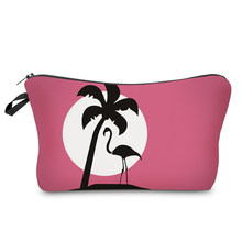 BBL 3D Letter Printed Cartoon Flamingo Women Travel Toiletry Make Up Bag Pouch Clutch Handbag Cosmetic Case Makeup Organizer(China)