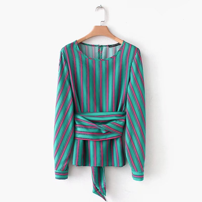2018 women vintage color matching green striped belt decoration blouses shirt chic retro femininas blusa casual tops LS1800