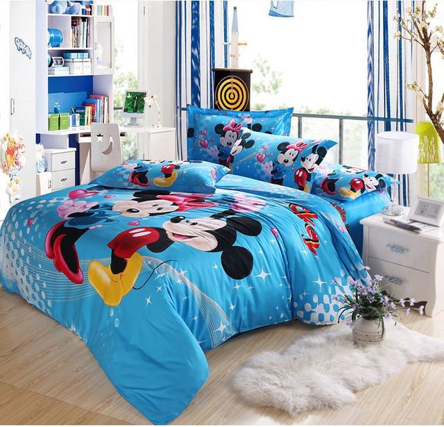 queen king size mickey and minnie mickey mouse bedding comforter set duvet cover bed sheet set - Mickey Mouse Bedding