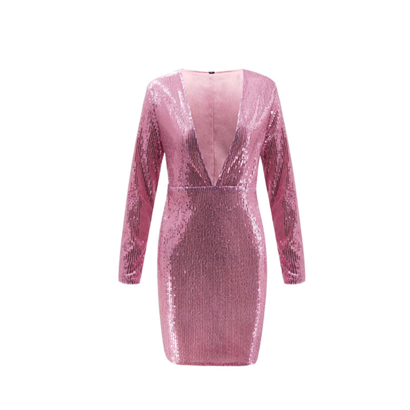 SINFEEL Party Club Highstreet Sexy V-Neck Sequin Long Sleeve Bodycon Mini Dress Autumn Spring Fashion Women Dresses Plus Size