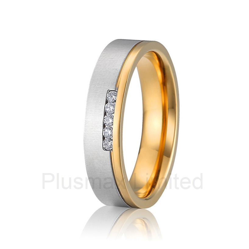 2016 anel feminino ouro gold color two color Europe style cheap custom pure titanium promise wedding rings band women anel de casamento cheap pure titanium satin surface gold color colorful stone cheap pure titanium promise wedding band rings