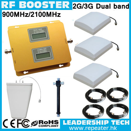 Cover 1000m2 RF 900mhz/2100mhz 3G GSM UMTS WCDMA TD-SCDMA HSDPA LCD Dual Band 3G Cell/mobile Phone Repeater Booster Detector