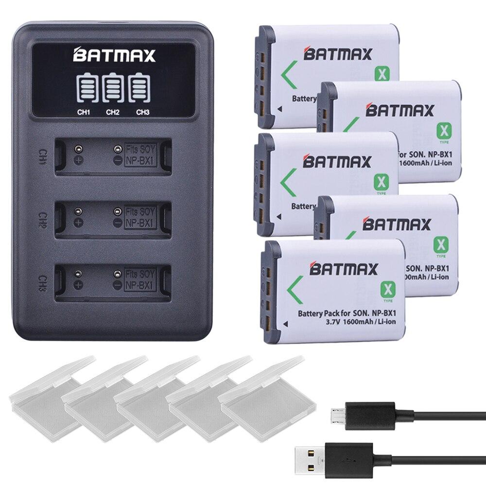 5 pz NP-BX1 np bx1 Batteria + 3 Slot Caricabatterie LCD per Sony DSC-RX100 DSC-WX500 IV HX300 WX300 HDR-AS15 AS30V X3000R MV1 HDR-AS300