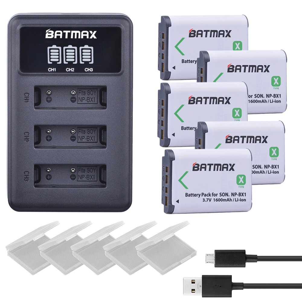 LCD Battery HX300 Sony HDR-AS300 3-Slots DSC-RX100 NP-BX1 Charger 5pcs for Dsc-rx100/Dsc-wx500/Iv/.. title=